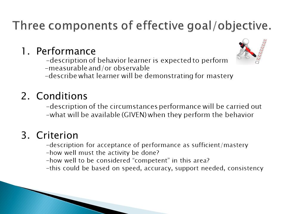 Three components of effective goal/objective.