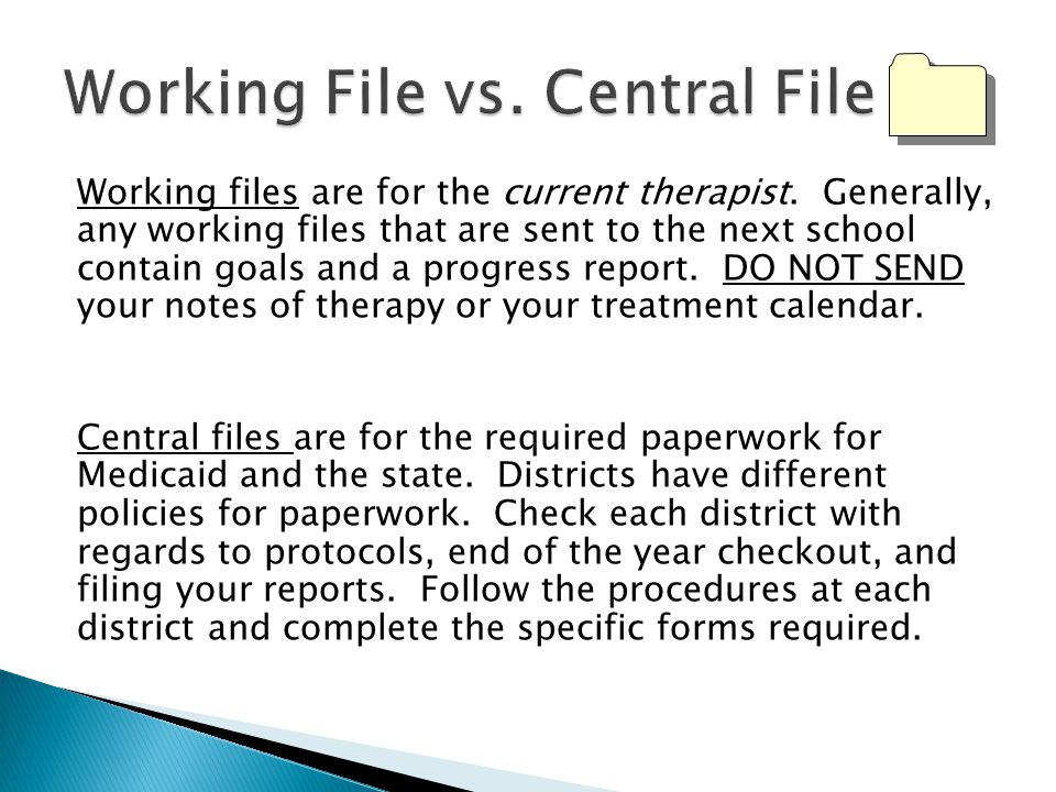 Working File vs. Central File