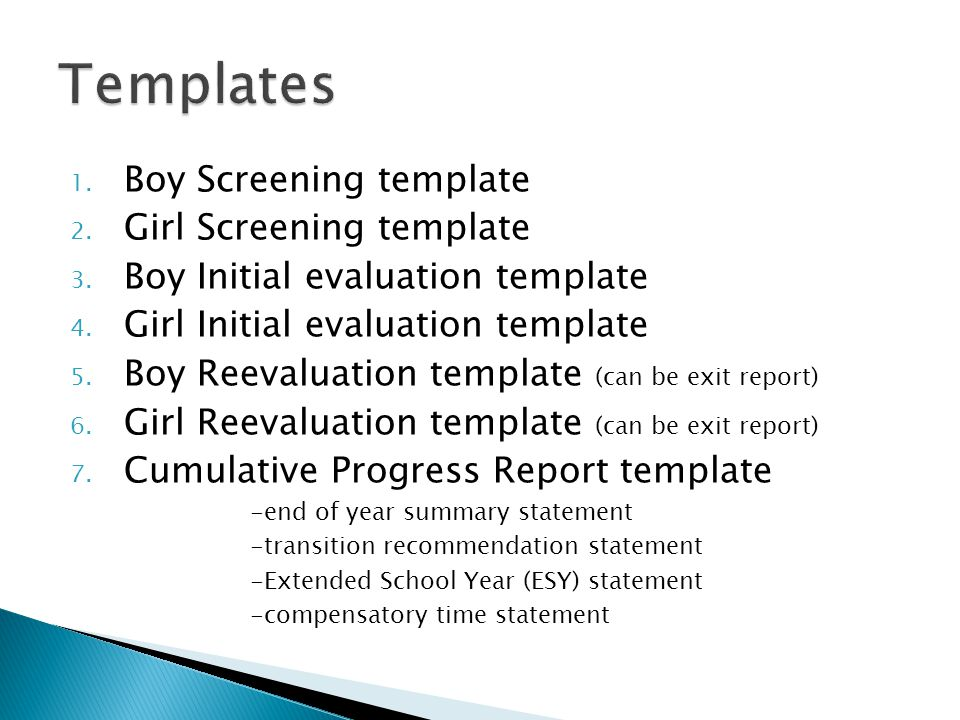 Templates Boy Screening template Girl Screening template