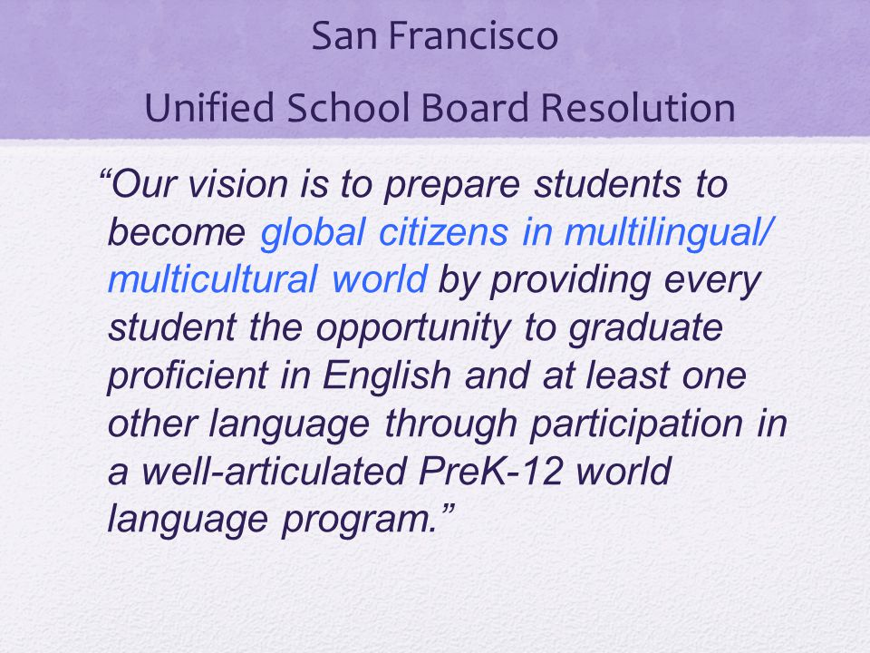 San Francisco Unified School Board Resolution