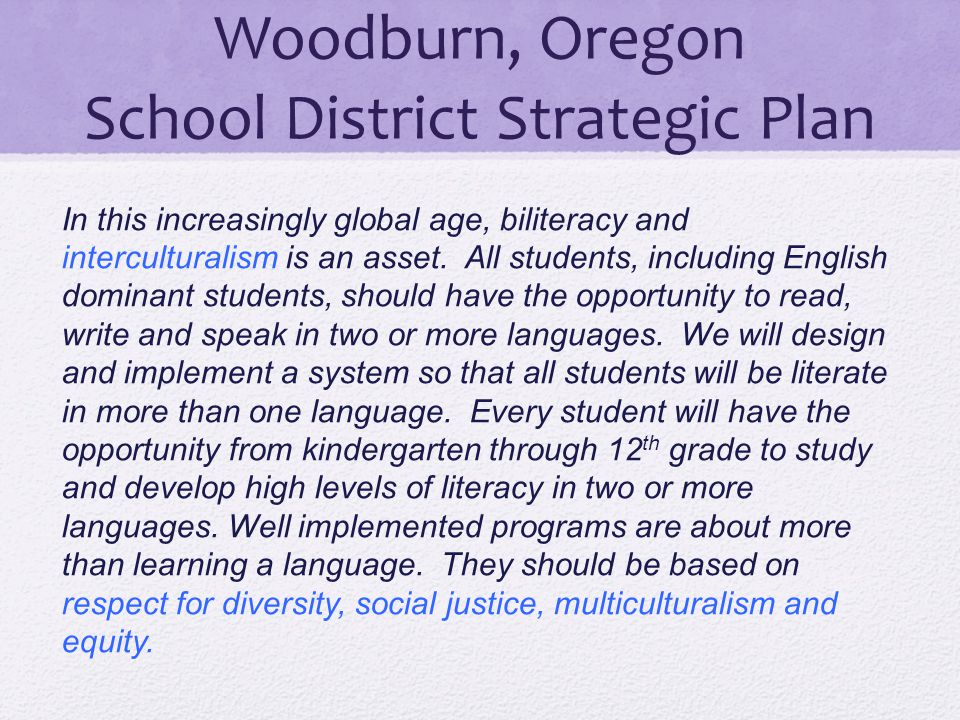 Woodburn, Oregon School District Strategic Plan