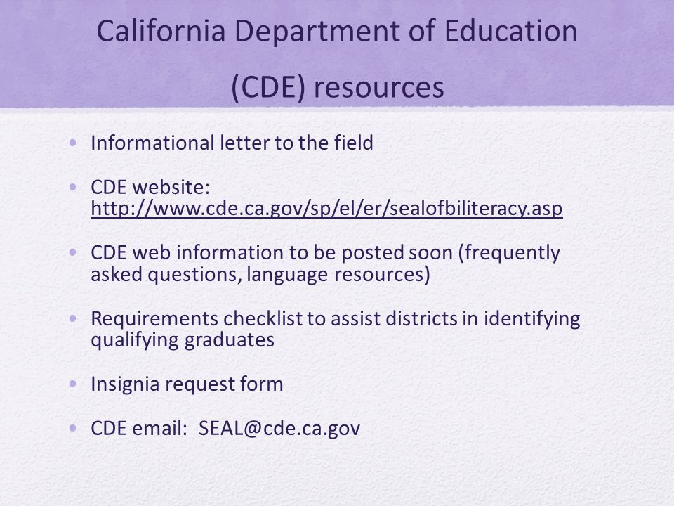 California Department of Education (CDE) resources