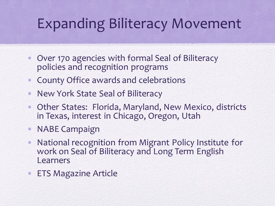 Expanding Biliteracy Movement