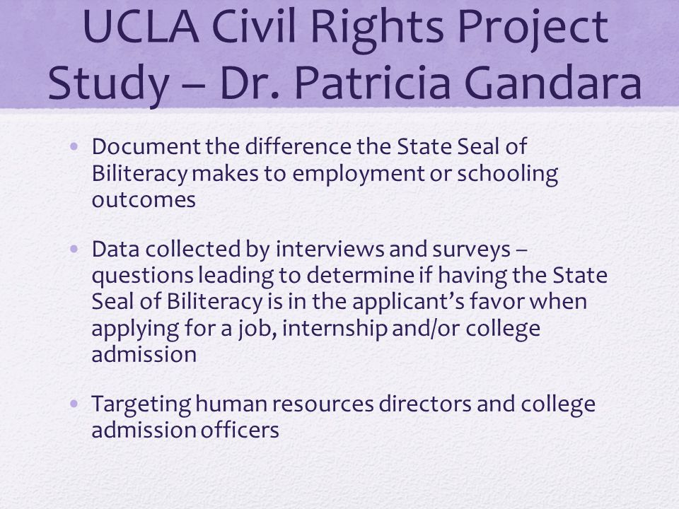 UCLA Civil Rights Project Study – Dr. Patricia Gandara