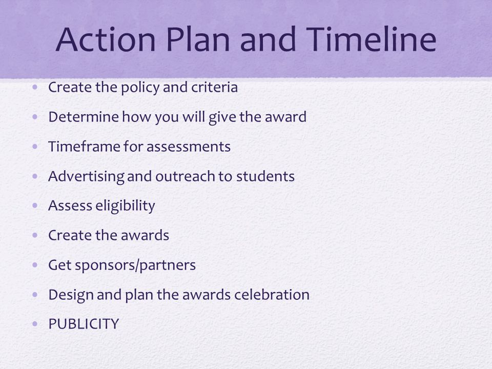 Action Plan and Timeline