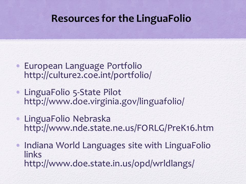 Resources for the LinguaFolio