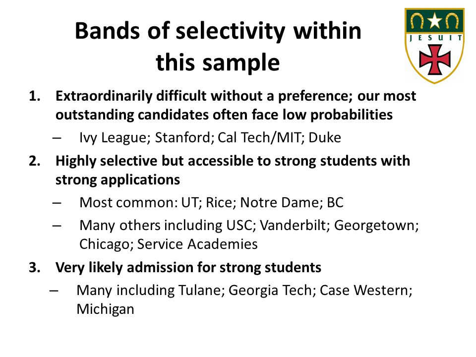 Bands of selectivity within this sample