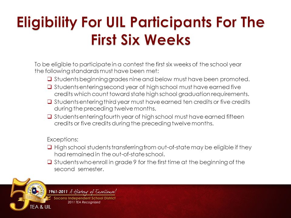 Eligibility For UIL Participants For The First Six Weeks
