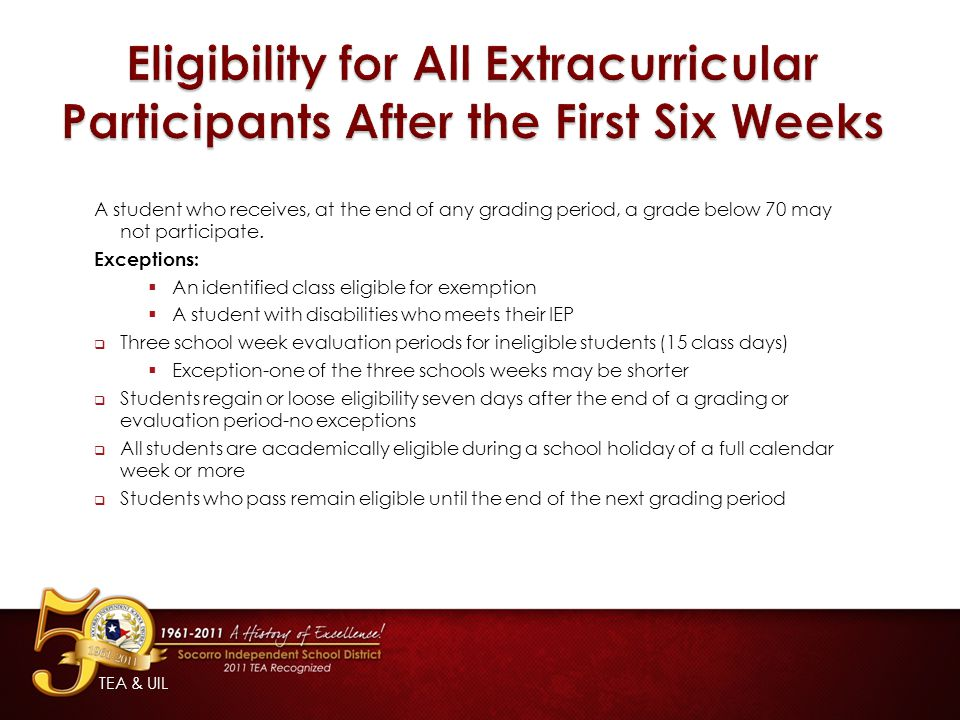 Eligibility for All Extracurricular Participants After the First Six Weeks