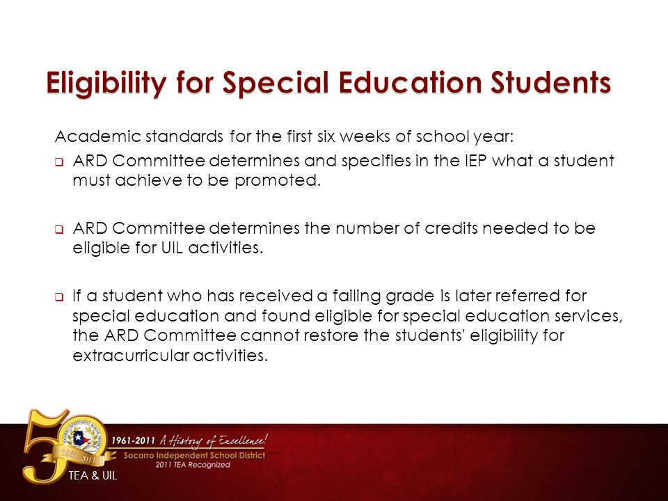 Eligibility for Special Education Students