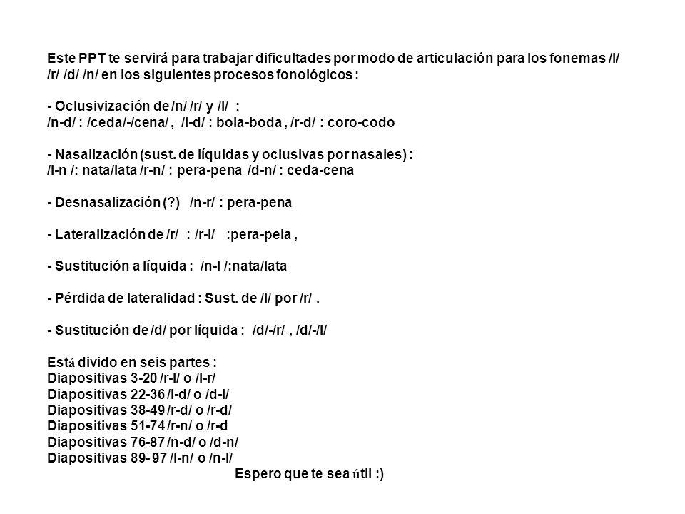 Este PPT te servirá para trabajar dificultades por modo de articulación para los fonemas /l/ /r/ /d/ /n/ en los siguientes procesos fonológicos :
