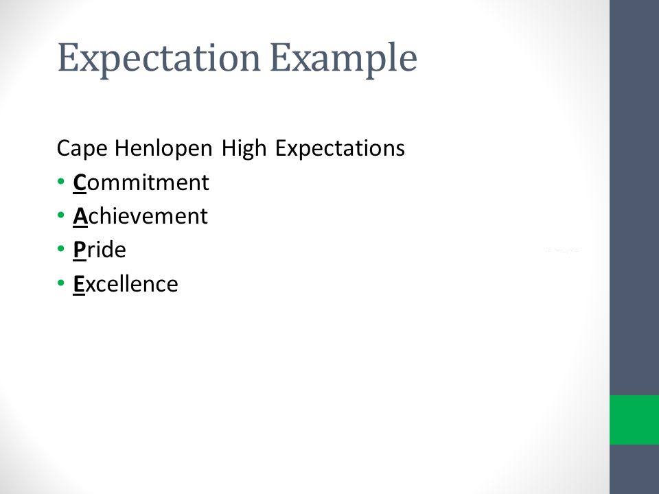Expectation Example Cape Henlopen High Expectations Commitment