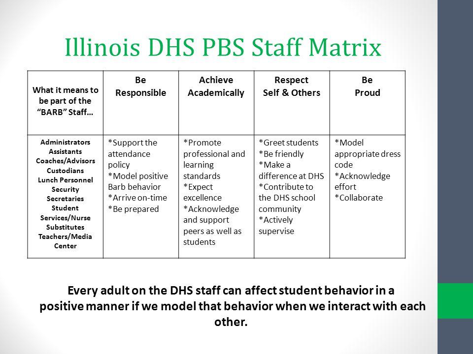 Illinois DHS PBS Staff Matrix
