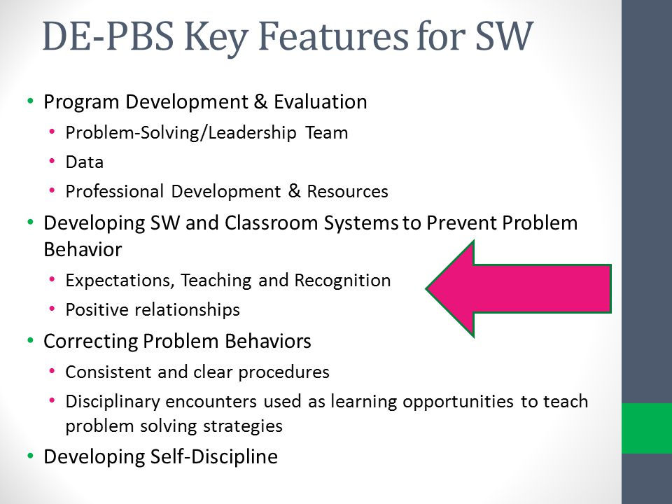 DE-PBS Key Features for SW