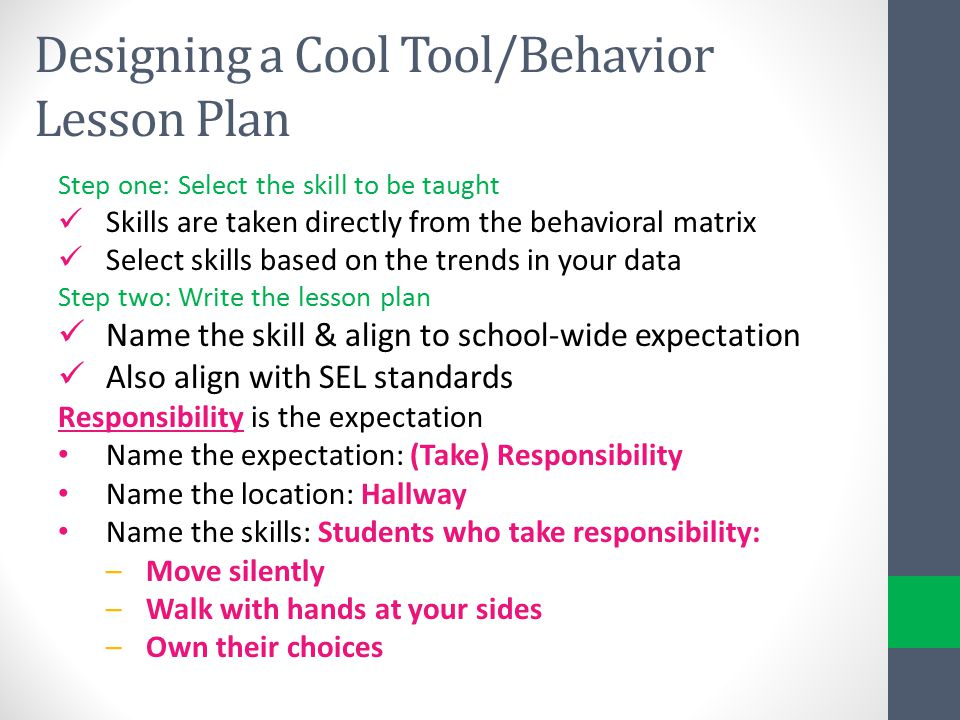 Designing a Cool Tool/Behavior Lesson Plan