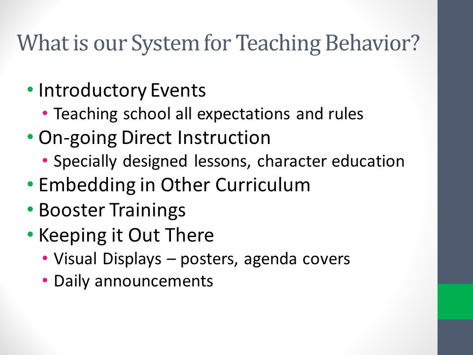 What is our System for Teaching Behavior