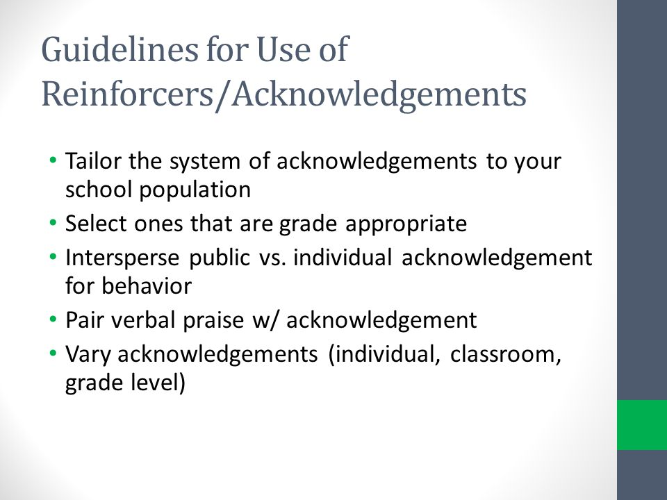 Guidelines for Use of Reinforcers/Acknowledgements