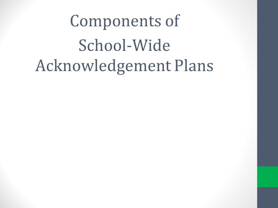 School-Wide Acknowledgement Plans