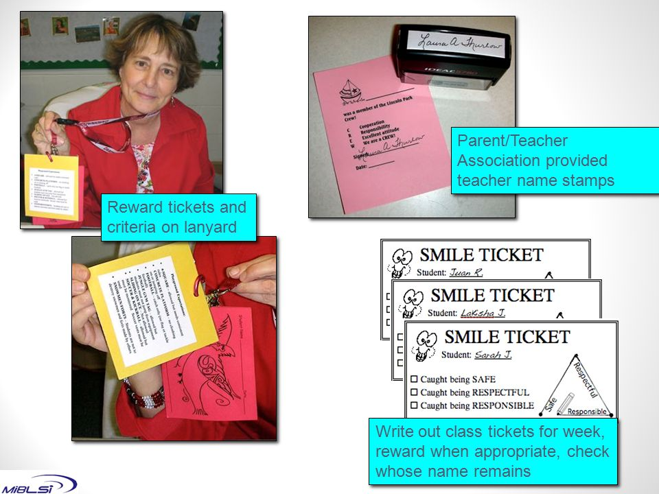 Parent/Teacher Association provided teacher name stamps
