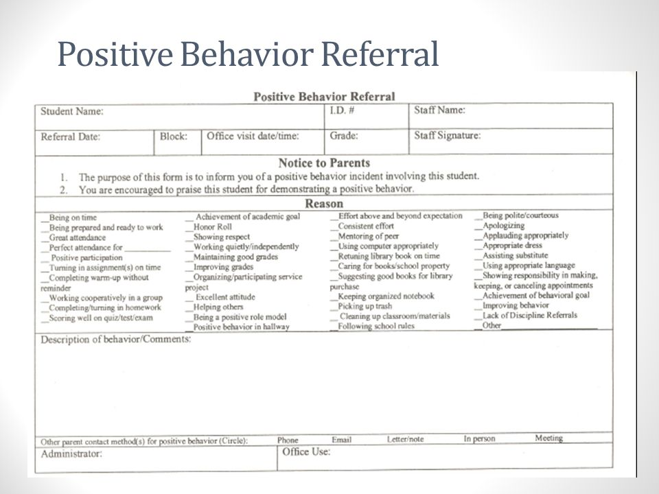Positive Behavior Referral