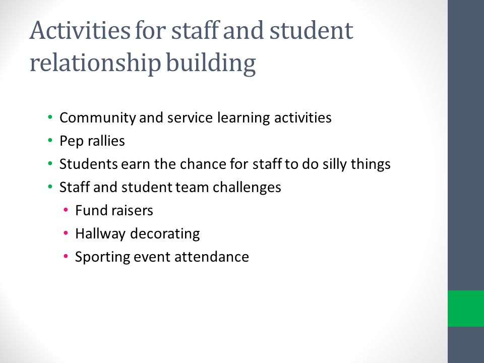 Activities for staff and student relationship building