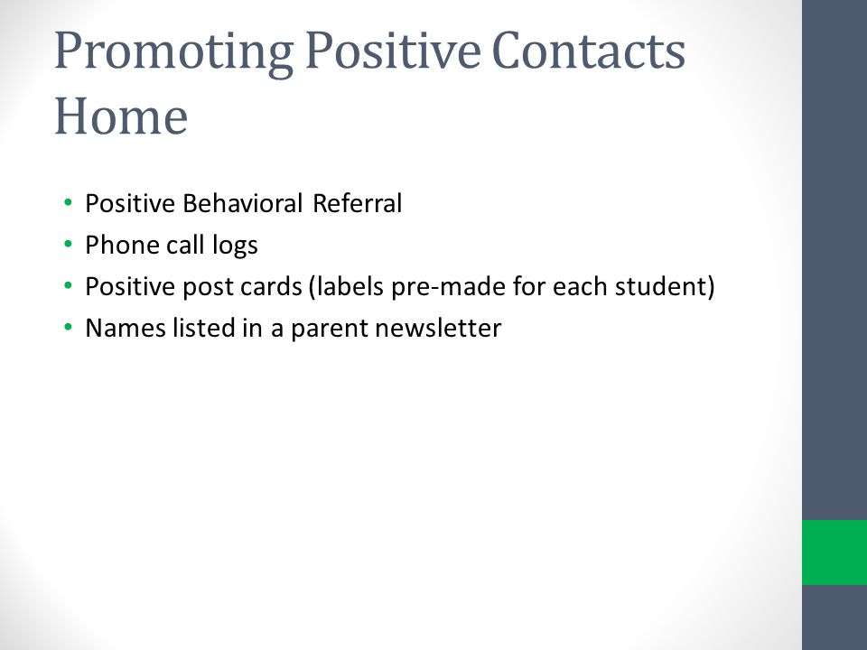 Promoting Positive Contacts Home