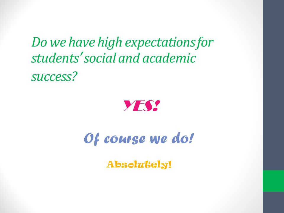 Do we have high expectations for students' social and academic success