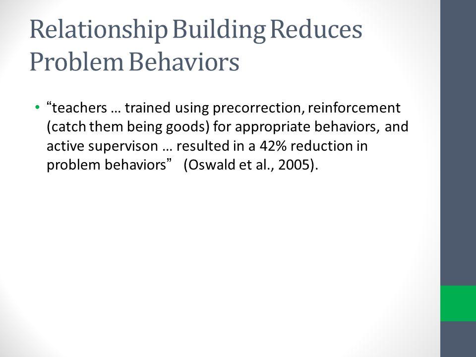 Relationship Building Reduces Problem Behaviors
