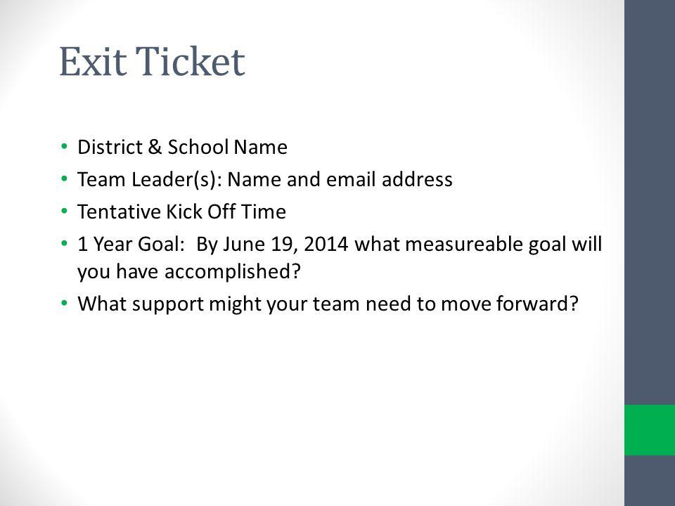 Exit Ticket District & School Name
