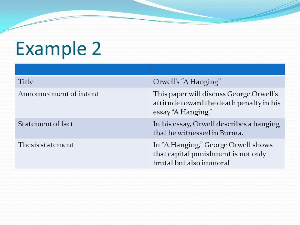 the idea of capital punishment in a hanging an essay by george orwell 2012-8-24  execution essay the establishment  capital punishment in the work of george orwell, hl mencken,  george orwell's stance on capital punishment in essay.