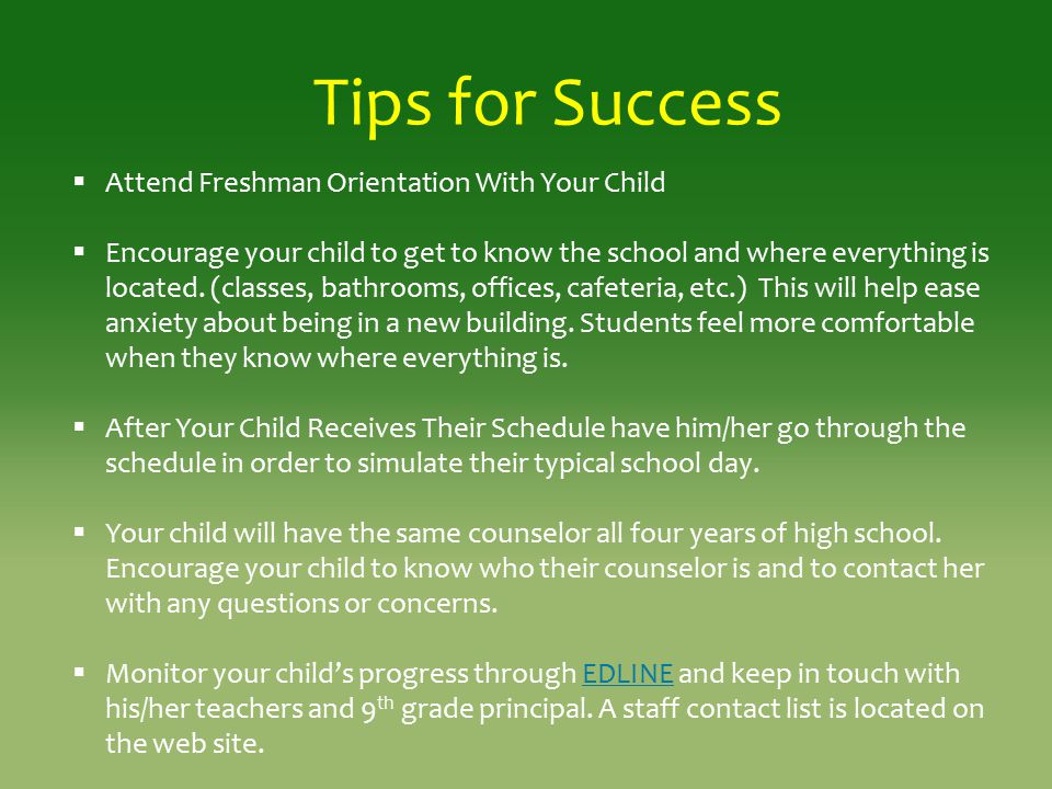 Tips for Success Attend Freshman Orientation With Your Child