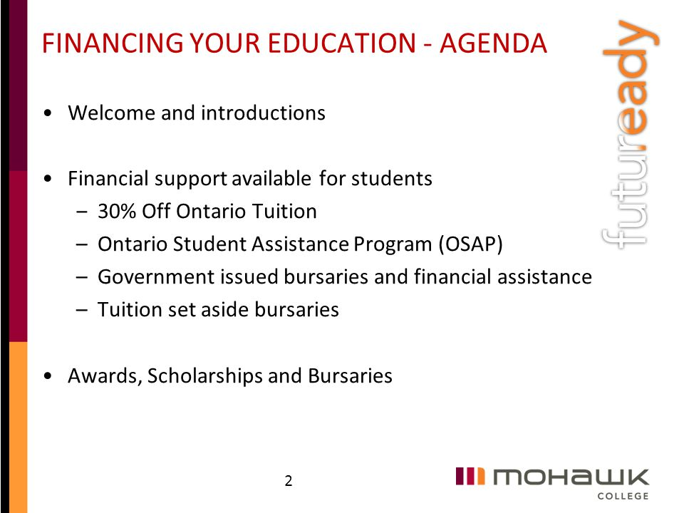 FINANCING YOUR EDUCATION - AGENDA