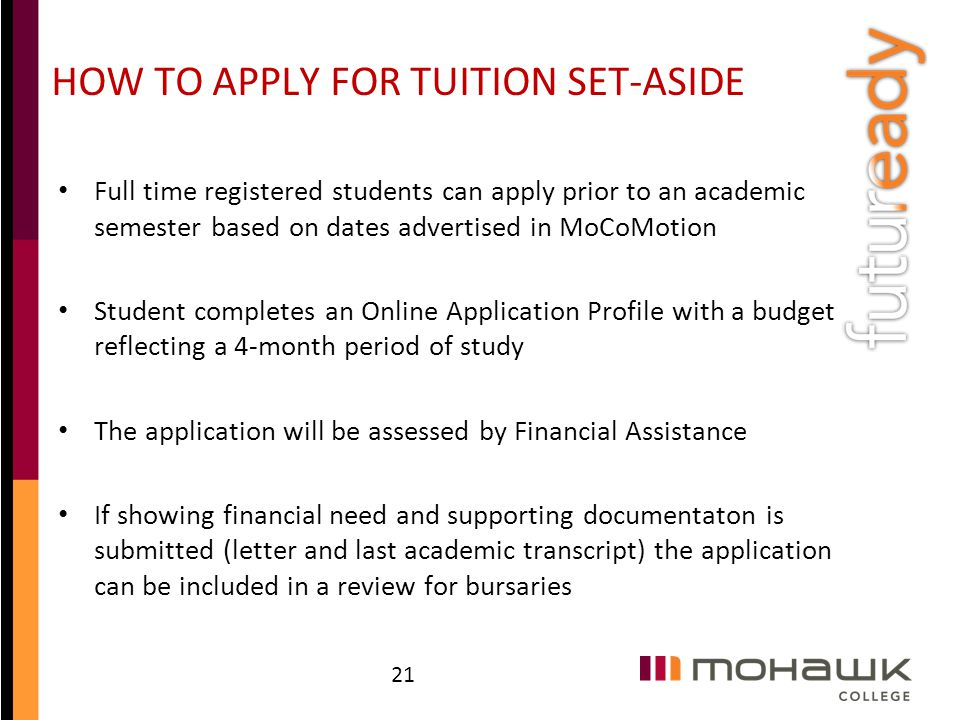 HOW TO APPLY FOR TUITION SET-ASIDE