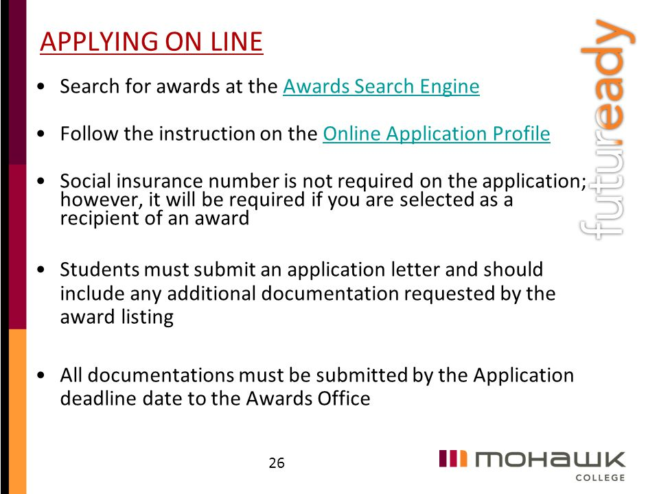APPLYING ON LINE Search for awards at the Awards Search Engine