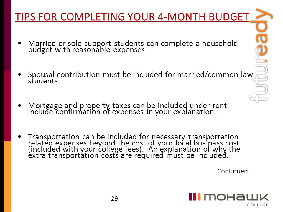 TIPS FOR COMPLETING YOUR 4-MONTH BUDGET