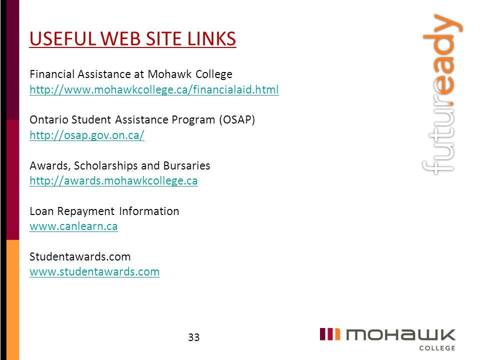 USEFUL WEB SITE LINKS Financial Assistance at Mohawk College