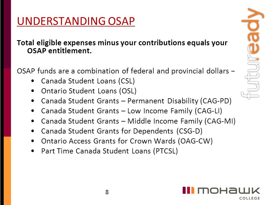 UNDERSTANDING OSAP Total eligible expenses minus your contributions equals your OSAP entitlement.