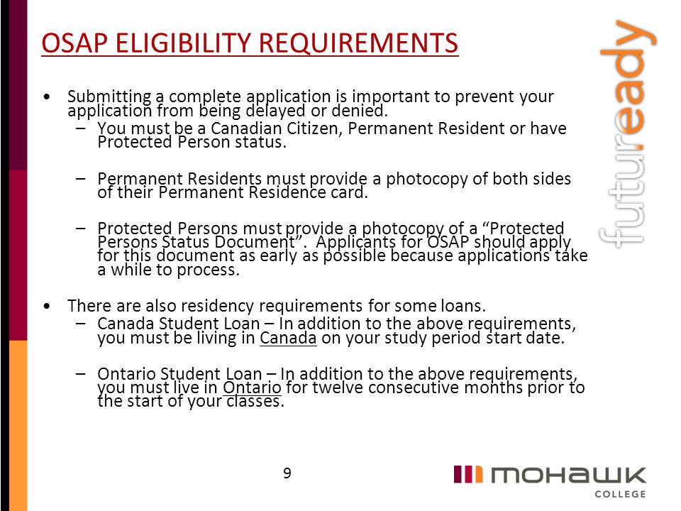 OSAP ELIGIBILITY REQUIREMENTS