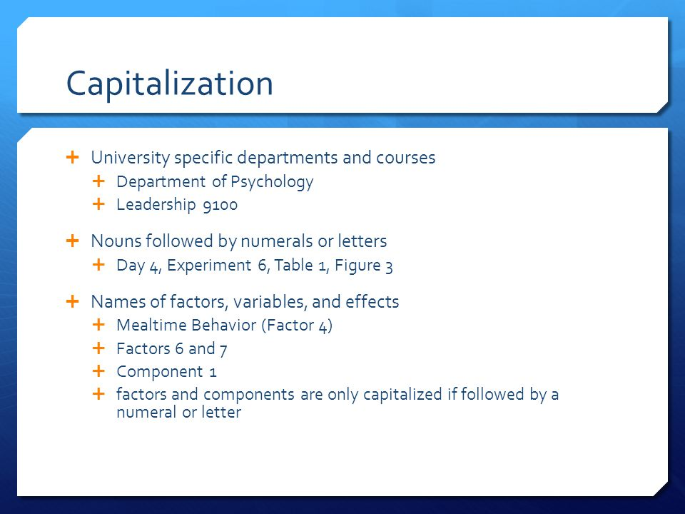 Capitalization University specific departments and courses