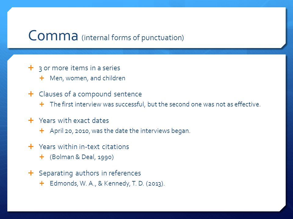 Comma (internal forms of punctuation)
