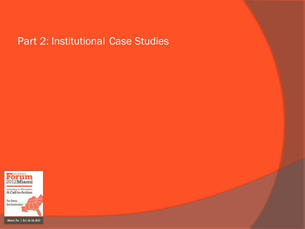 Part 2: Institutional Case Studies