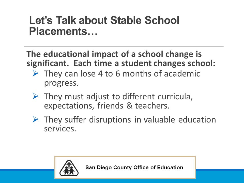 Let's Talk about Stable School Placements…