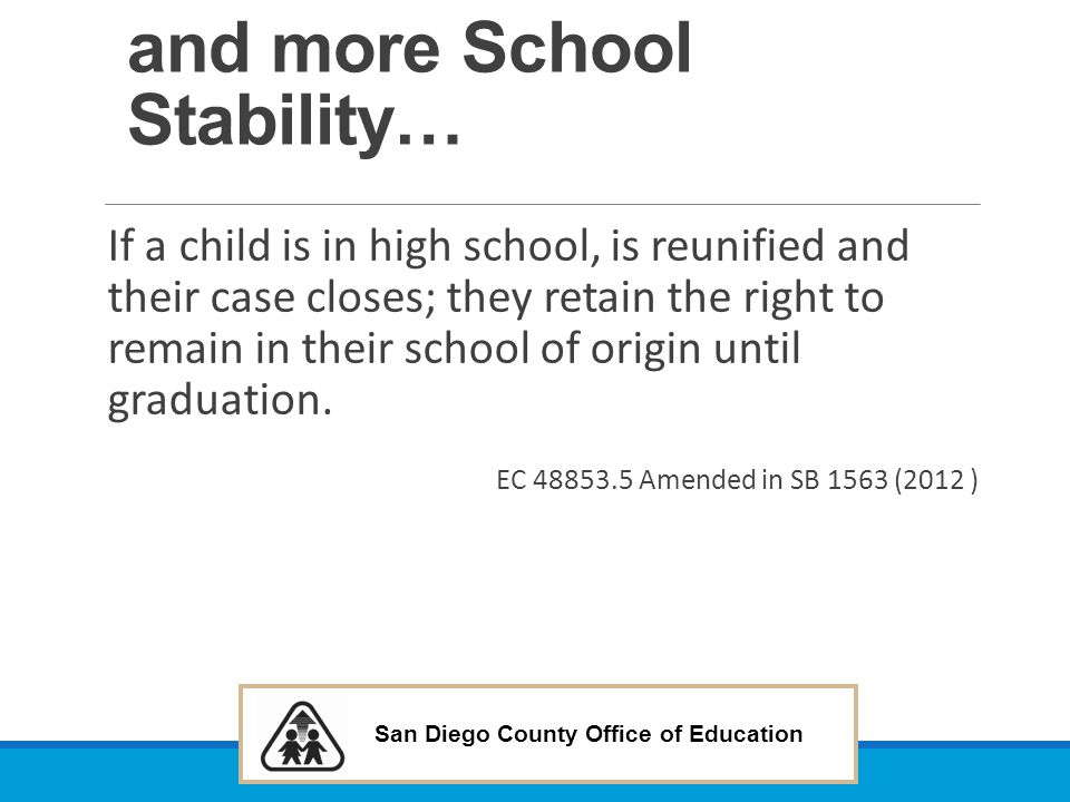 and more School Stability…