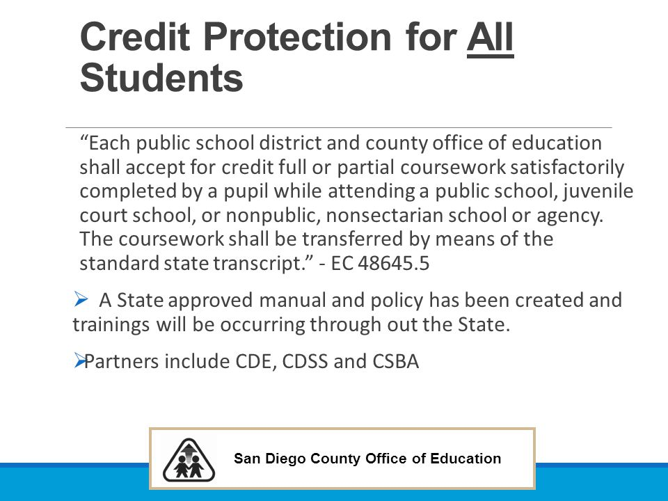 Credit Protection for All Students