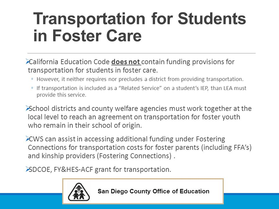Transportation for Students in Foster Care