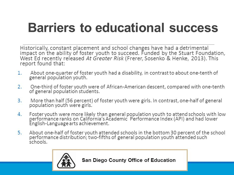 Barriers to educational success