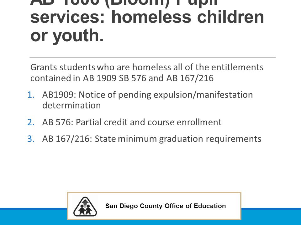 AB 1806 (Bloom) Pupil services: homeless children or youth.