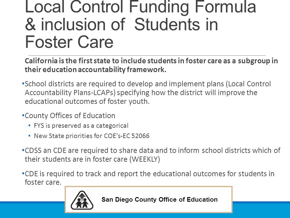 Local Control Funding Formula & inclusion of Students in Foster Care