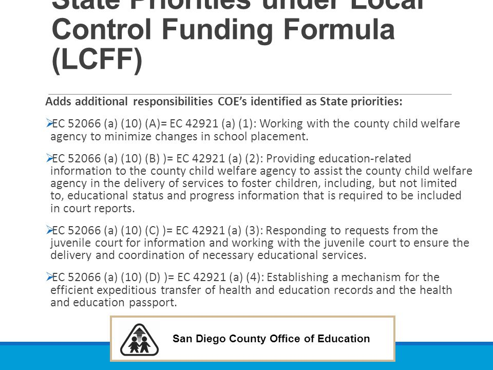 State Priorities under Local Control Funding Formula (LCFF)