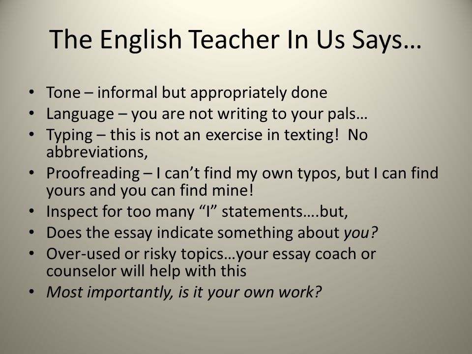 The English Teacher In Us Says…